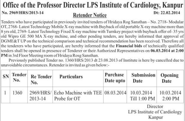 Supply of Echo Machine with TEE probe (LPS Institute of Cardiology)