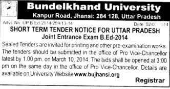 Printing works for examination (Bundelkhand University)