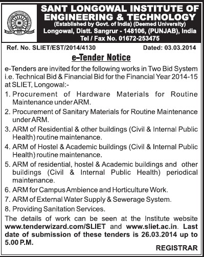 Supply of Sanitary Materials (Sant Longowal Institute of Engineering and Technology SLIET)