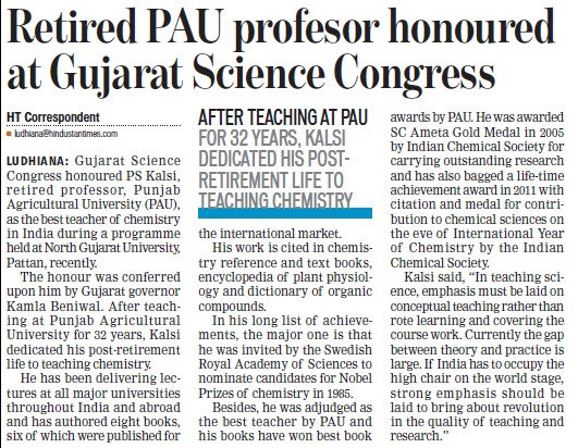 Retired PAU Professor honoured at Gujarat Science Congress (Punjab Agricultural University PAU)