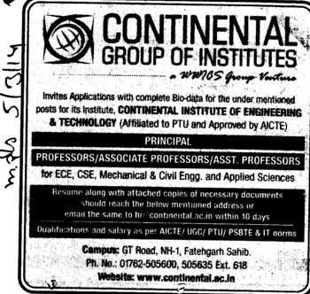 Aasociate Professor for Civil Engineer (Continental Group Institute Jalvehra)