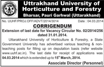Teaching and non teaching staff (Uttarakhand University of Horticulture and Forestry UUHF)