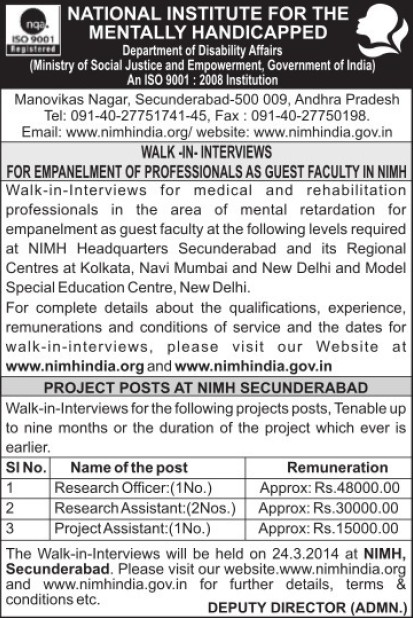 Research Officer and Project Asstt (National Institute for the Mentally Handicapped (NIMH))