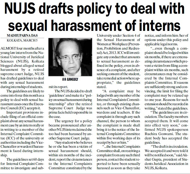 NUJS drafts policy to deal with sexual harassment of interns (West Bengal National University of Juridical Sciences)