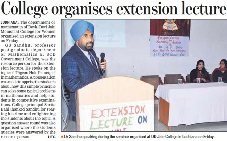 College organises extension lecture (Devki Devi Jain Memorial College for Women)