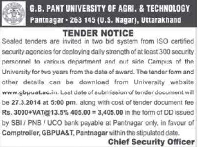 Security Agencies (Govind Ballabh Pant University of Agriculture and Technology GBPUAT)
