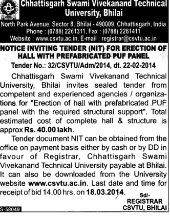 Erection of Hall with prefabricated puf panel (Chhattisgarh Swami Vivekanand Technical University)