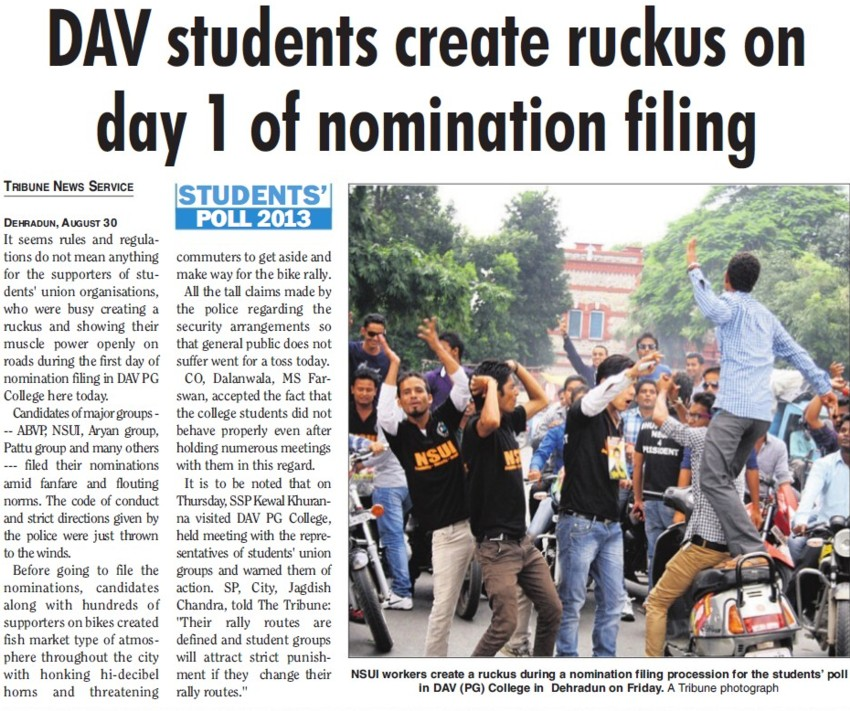 Students create ruckus on day 1 of nominating filing (DAV PG College Karanpur)