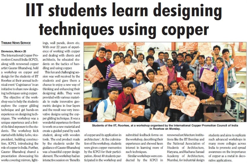 IIT students learn designing techniques using copper (Indian Institute of Technology (IITR))