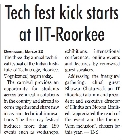 Techfest kicks starts (Indian Institute of Technology (IITR))