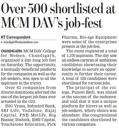 Over 500 shortlisted at MCM DAV job fest (MCM DAV College for Women)