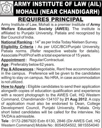 Principal on contract basis (Army Institute of Law)