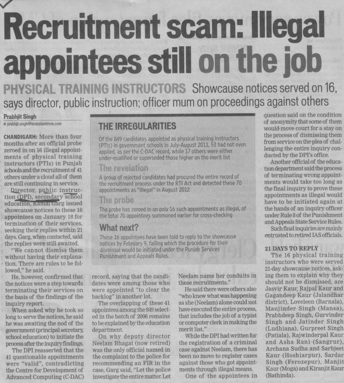 Illegal appointments still on the job (DPI Senior Secondary Punjab)