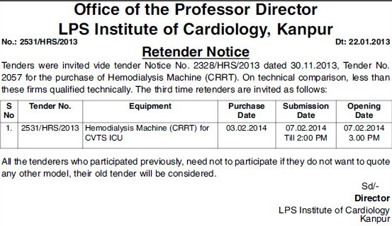 Supply of Hemodialysis Machine (LPS Institute of Cardiology)