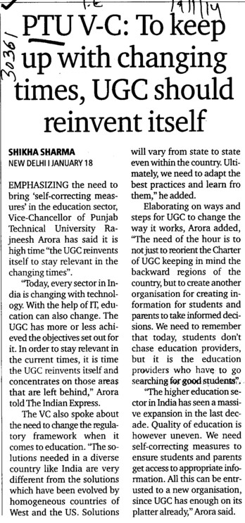 Keep up with changing times, UGC should reinvent itself (Punjab Technical University PTU)