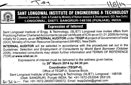 Submission of tender (Sant Longowal Institute of Engineering and Technology SLIET)