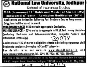 MBA and MS in Insurance (National Law University (NLU))