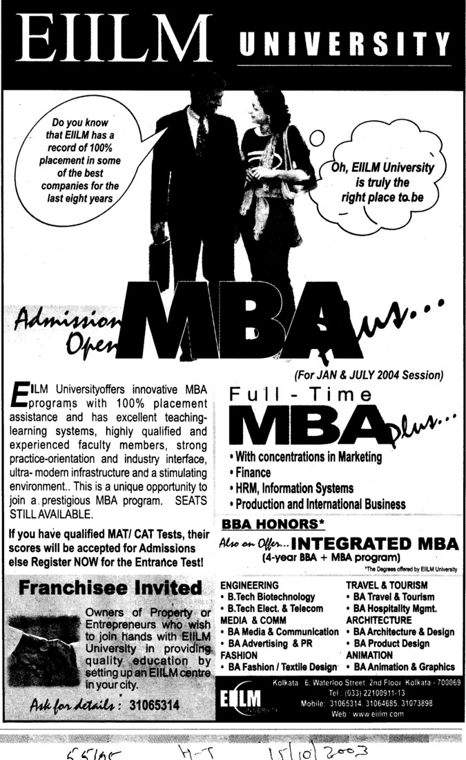 MBA in Production and International Business (EIILM University)