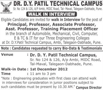 Principal, Associate Professor and Training Placement Officer (Dr. DY Patil Group of Institutions (Technical Campus))