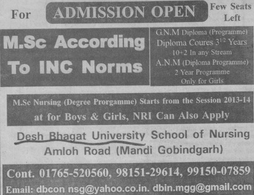 GNM and ANM Course (Desh Bhagat University)