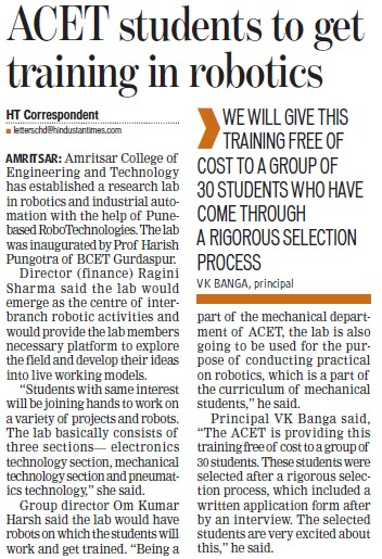 ACET students to get training in robotics (Amritsar College of Engineering and Technology ACET Manawala)