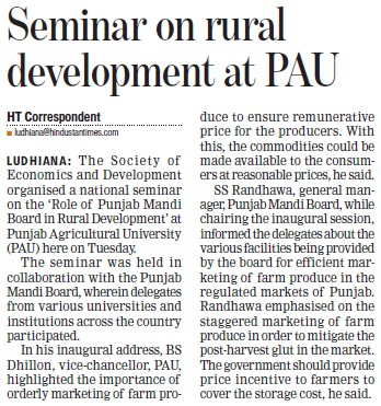 Seminar on rural development at PAU (Punjab Agricultural University PAU)