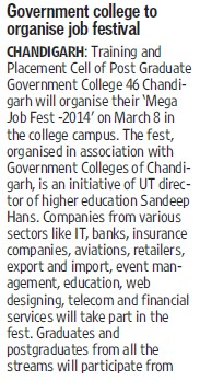 Govt College to organise job festival (Post Graduate Government College, Co-Educational (Sector 46))