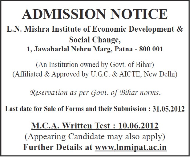 MCA written test (LN Mishra Institute of Economic Development And Social Change)