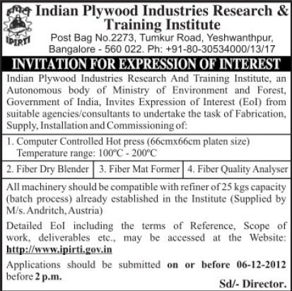 Supply of Fiber Dry Blender (Indian Plywood Industries Research and Training Institute (IPIRTI))