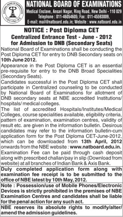 Centralized Entrance Test 2012 (National Board of Examinations)