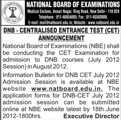 DNB CET 2012 (National Board of Examinations)