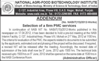 Selection of firm PMC Service (National Agri Food Bio Technology Institute (NABI))
