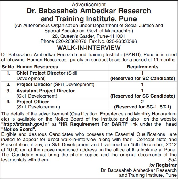Chief Project Director (Dr Babasaheb Ambedkar Research and Training Institute)