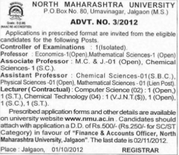 Associate Professor and Lecturer on contract basis (North Maharashtra University)