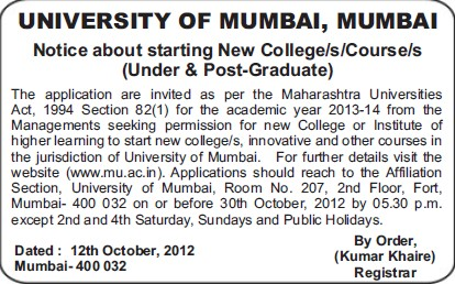 Starting of new courses (University of Mumbai (UoM))