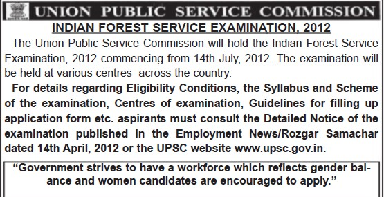 Indian Forest Service Examination 2012 (Union Public Service Commission (UPSC))