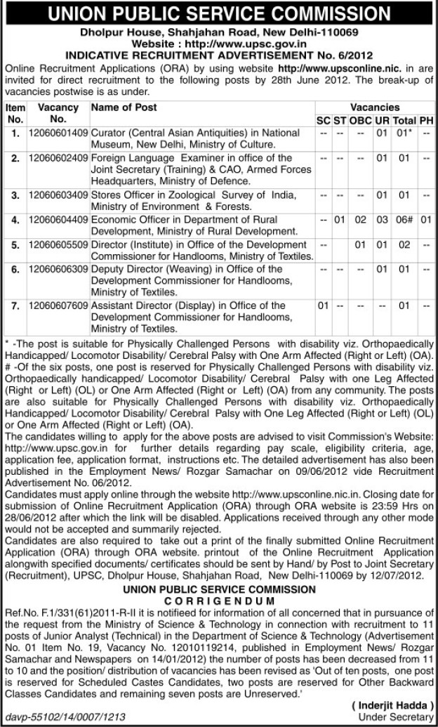 Curator and Deputy Director (Union Public Service Commission (UPSC))
