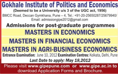 Master in Economics (Gokhale Institute of Politics and Economics GIPE)