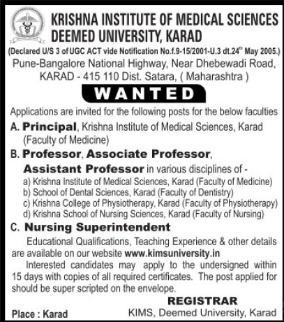 Nursing Superintendent and Asstt Professor (Krishna Institute of Medical Sciences University KIMS)