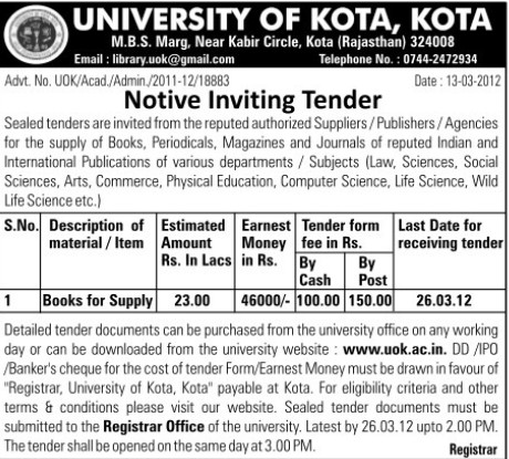Supply of Books (University of Kota)