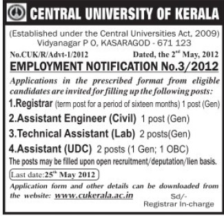 Technical Asstt and Registrar (Central University of Kerala)