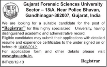 Registrar (Gujarat Forensic Sciences University)