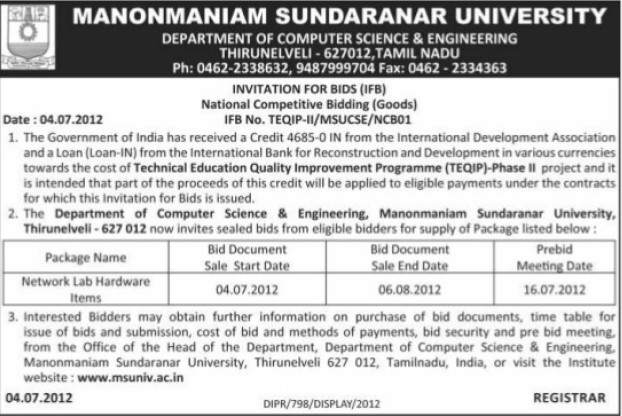 Supply of Network lab hardware equipments (Manonmaniam Sundaranar University)