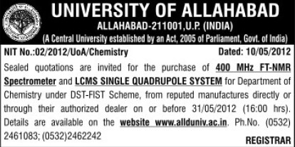 Supply of LCMS Single quadrupole systemn (University of Allahabad)