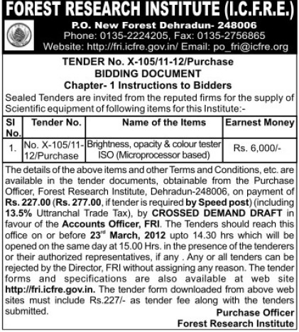 Supply of Colour tester ISO (Forest Research Institute)