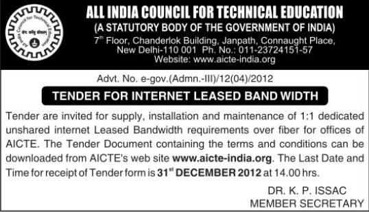 Maintenance of leased bandwidth (All India Council for Technical Education (AICTE))