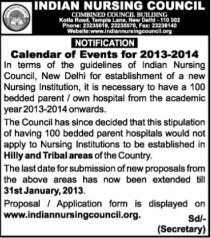 Calender of Events for 2013 2014 (Indian Nursing Council (INC))