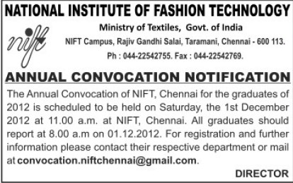 Annual Convocation held (National Institute of Fashion Technology (NIFT), Chennai)