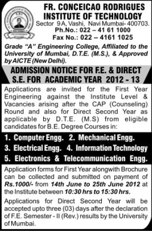 BE in EE and CSE (Fr Conceicao Rodrigues Institute of Technology)