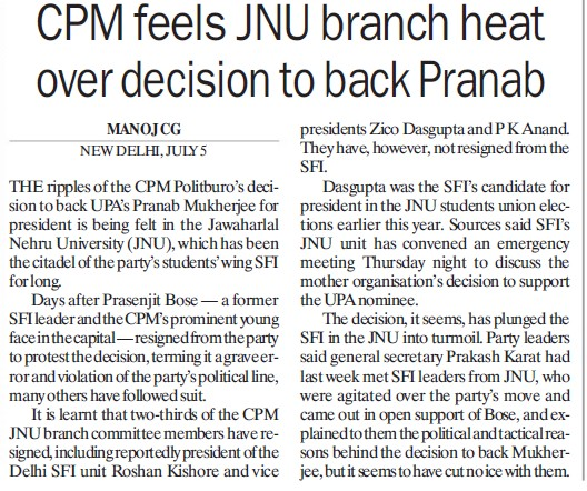 CPM feels JNU branch heat over decision to back Pranab (Jawaharlal Nehru University)